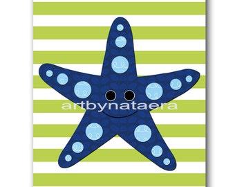 Sea Starfish Nursery Kids Wall Art Baby Boy Nursery art print Children Wall Art Baby Room Decor Kids Print Nursery Decor Boy blue green