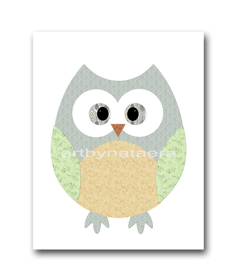Owl decor owl nursery kids wall art baby nursery decor baby for Baby owl decoration