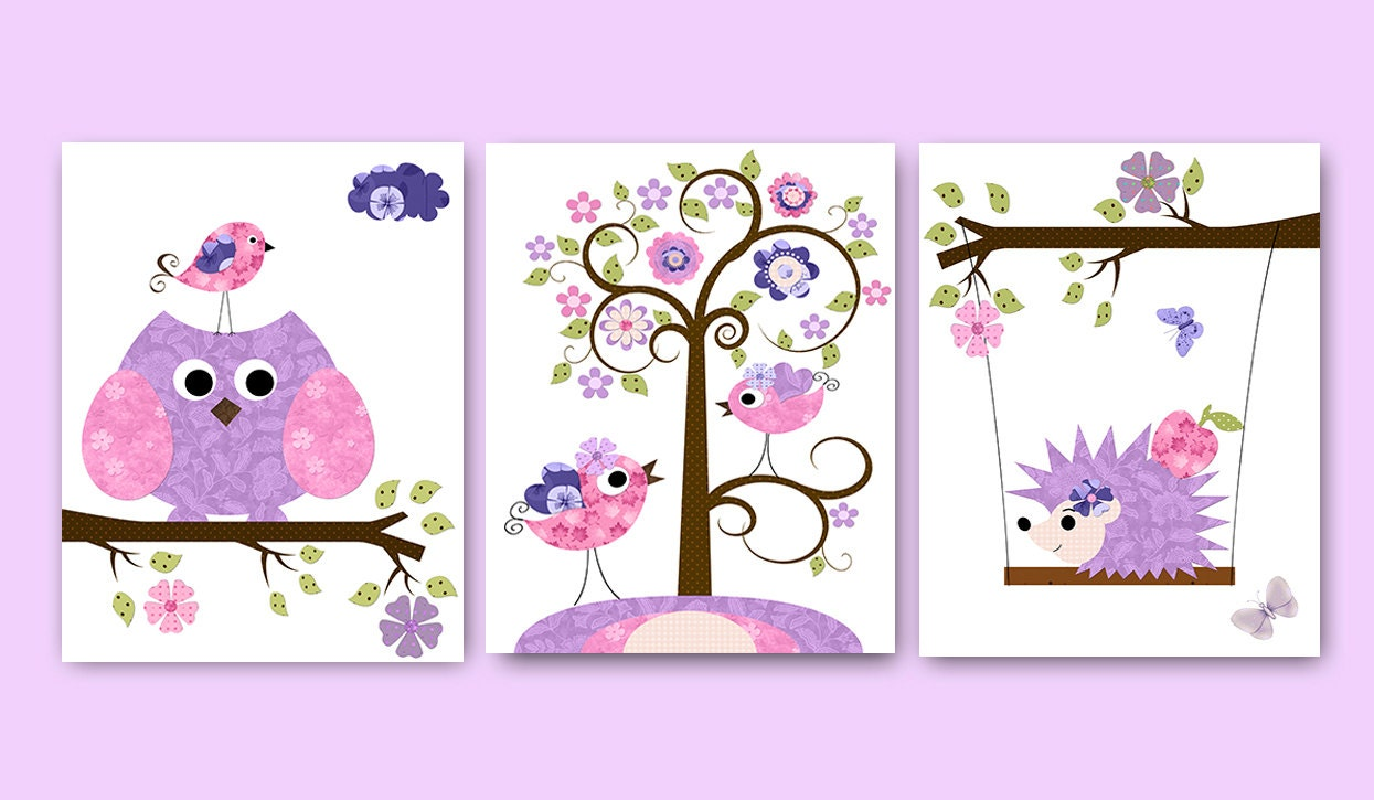 Owl decor owl nursery baby nursery decor baby girl by artbynataera - Girl owl decor ...