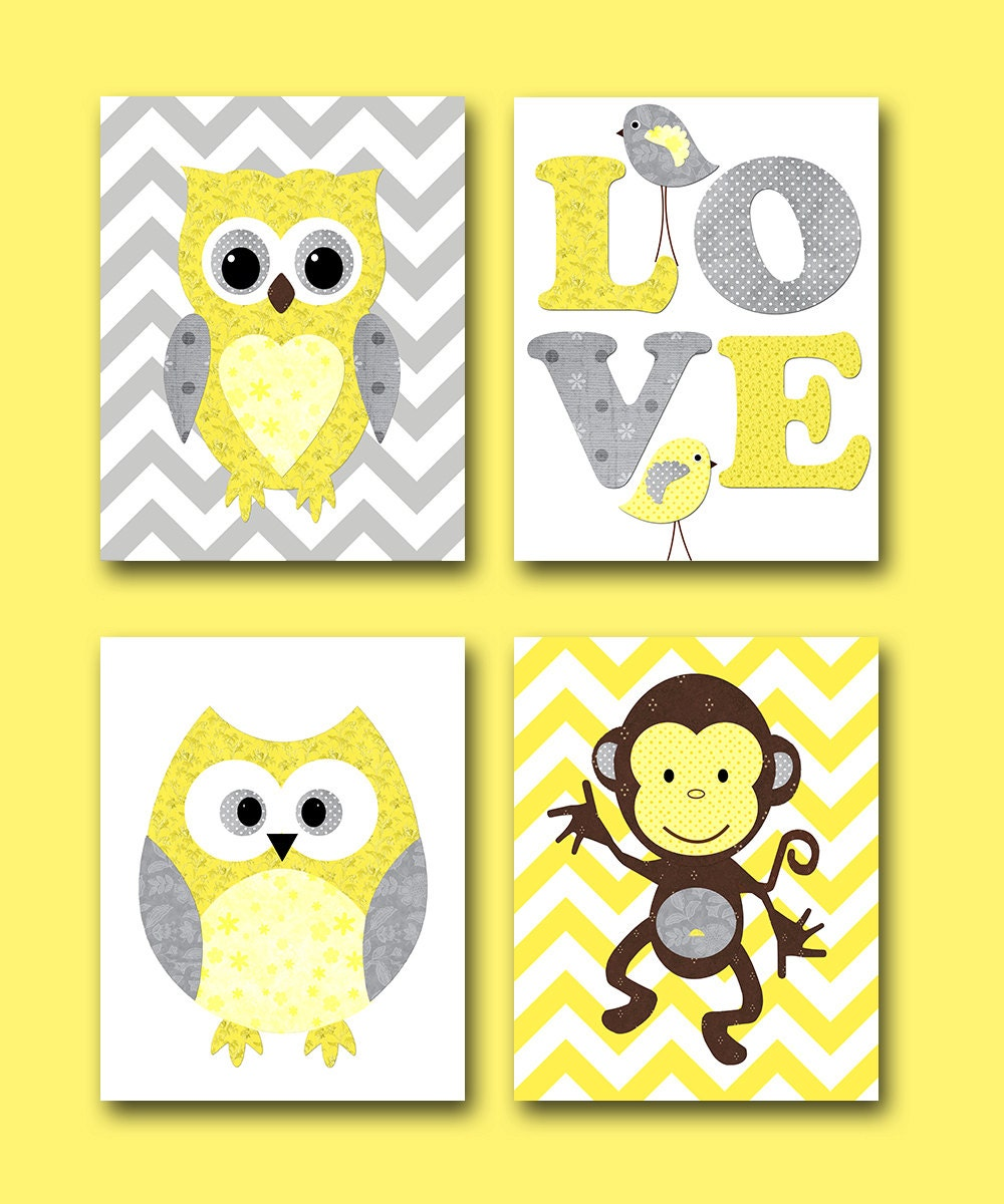 Nursery Art For Children Kids Wall Art Baby Girl Nursery Baby: Kids Wall Art Owl Nursery Monkey Nursery Baby Nursery Decor