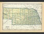 Vintage Map of Nebraska From 1935 Original