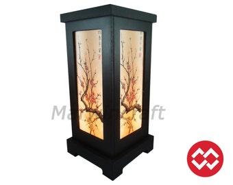 No Screw Design Asian Oriental Japanese Sakura Tree Zen Art Bedside Table Lamp Wood Light Shades Gift Living Bedroom Furniture Home Decor