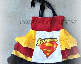 Super Girl, Super Hero, Pageant, OOC, Boutique Style size Ruffle dress NB 3  6 9 12 24 months, size 2 3 4 5T