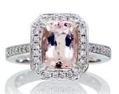 18K White Gold Cushion Cut Diamond Halo 9x7 Morganite Engagement Ring Alternative Bridal Jewelry Wedding Anniversary Ring