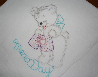 Flour sack Dishtowel - Hand Embroidered - Fuzzy Bears