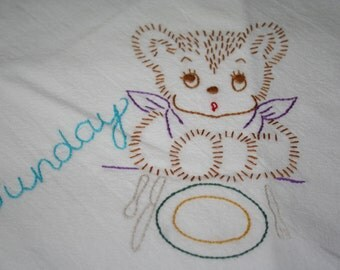 Flour sack Dishtowel - Hand Embroidered - Fuzzy Bear Sunday