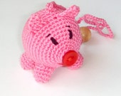 Baby toy pig Rattle toy piggy Pink baby pig Crochet animal piglet Amigurumi baby toy Pet Waldorf toy Home decor pig
