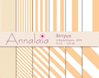 INSTANT DOWNLOAD Digital Paper Pack: Peach Orange White Vertical Diagonal Stripes Lines 12x12 8,5x11 Scrapbook Paper Commercial Use 381