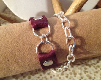 Plum leather and silver wrap bracelet