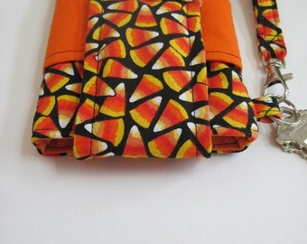 """Candy Corn Smartphone Wristlet, Fits iPhone 5 and Smartphones up to 5.25"""" x 2.75"""", Key Ring and Pocket, Halloween Phone Wristlet"""