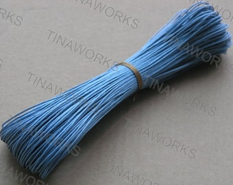95Yards of Size 1.0mm Sky Blue Waxed Cotton Cord for Bracelet/Necklace Making