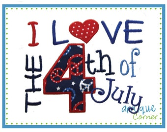 INSTANT DOWNLOAD I Love the 4th of July applique design in digital format for embroidery machine by Applique Corner