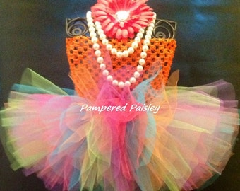 Birthday - Baby - Infant/Toddler  newborn-5T Tutu dress - bright colored tutu with orange top and matching headband