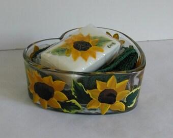 Handpainted Sunflowers Heart Dish, Soap and Washcloth