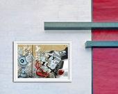 "Robot love street art graffiti print red silver and sky blue robots 8""x 10"""