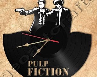 Wall Clock Pulp Fiction Theme Vinyl Record Clock Upcycled Vinyl