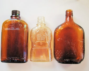 Three Vintage Bottles in Amber Brown From the 1910s - Great Condition - Ready to Use or Display - Distillers - Golden Anniversary - Historic