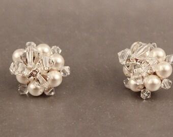 BRIDAL EARRINGS Wedding Jewelry, Czech Crystal & Pearl Rhinestone Cluster Stud Dainty Bridesmaid Silver Post Back Camilla Christine EMMA