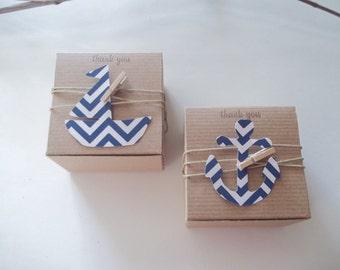 35 Nautical baby shower-  anchor favor box- nautical favor box- DIY favor box kit -
