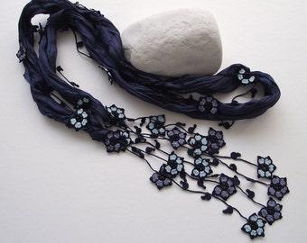 Silk Wrap Scarf, Beaded Skinny Foulard, Silk Crochet Necklace, Dark Blue Oya Flowers Scarf, Jewelry Beaded Scarf, Women's Gift, ReddApple,