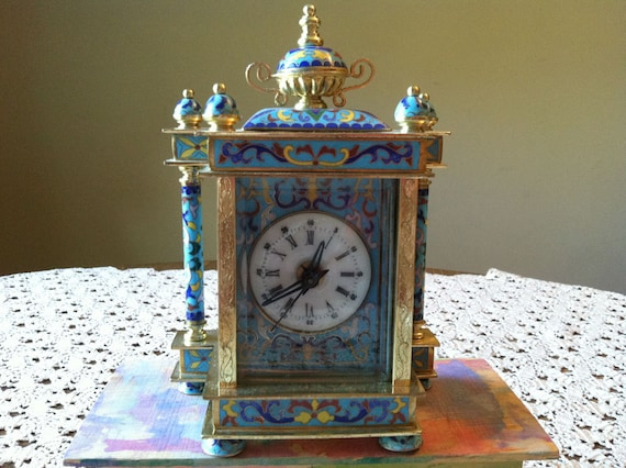 Vintage Chinese Cloisonne Mantel Clock With Hand Painted