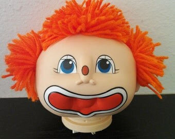 Doll Head-FREE SHIPP-Martha Nelson Thomas Funny Baby 1984 Clown Doll Head Orange Yarn