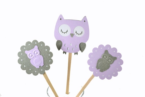 12 purple owl cupcake toppers owl baby shower owl birthday party owl
