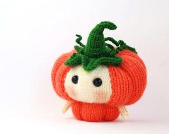Halloween Pumpkin Doll. Knitting pattern (knitted round)