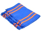 Blue & Orange Woven Placemat Set (4) - Neon Stripe with Fringe Edge - Funky Retro Kitchen Serving or Detroit Tigers Man Cave - Vintage Home