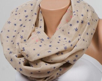 Big Sale. Cotton SCARF. Stars pattern printted Scarf. Loop scarf. Circle oversize scarf. Camel and blue stars.