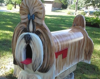 Shih Tzu Mailbox - or you pick breed, painted mailbox, dog lover gift, custom mailbox, wooden mailbox