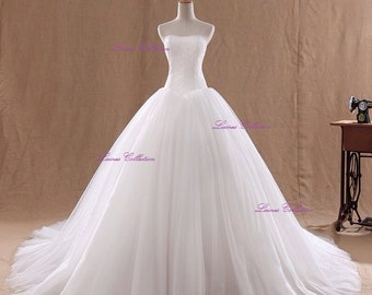 Simple Lace off shoulder Pure princess Wedding Ball Gown