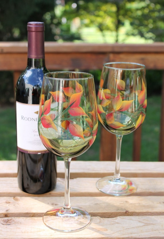 Set of 2 Hand Painted Wine Glasses - Fall