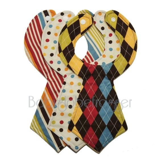 Trendy Handmade Baby Gifts : Designer baby necktie bibs set of by babyglobefrogger on