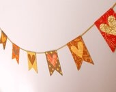 Valentines Decor, Valentines Garland, Sweetheart Table, Bridal Shower Decoration, Red and Gold Paper Banner, Handmade Paper Bunting