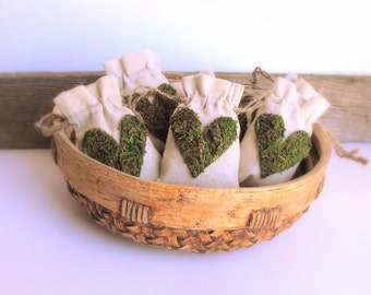Moss Heart Favor Bags-SET OF 5-Gift Bags-Bridal Shower Favor Bags-Favor Bags Wedding-Linen Favor Bags-Baby Shower Favor Bags-Moss Wedding