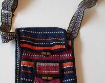 Primitive Folkart Woven Crossover Vintage Bag  Beaconhillcollect   We Ship Internationally