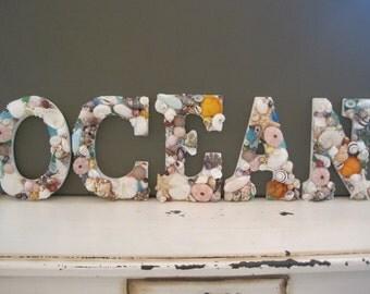 Beach Decor Ocean Shell Letters - Seashell letters - Beach Sign - Ocean