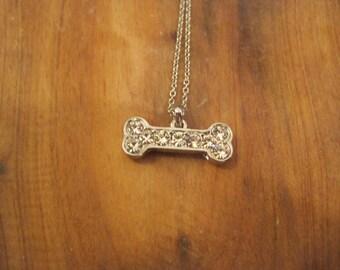 Rhinestone Silver Bone Necklace - Silver Bone Necklace