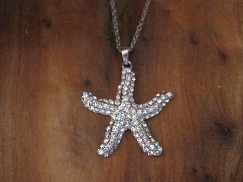 silver rhinestone starfish necklace silver starfish necklace