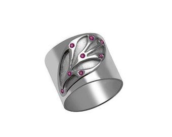 Leaf Ring Motif with Rubies Sterling Silver Leaf Ring