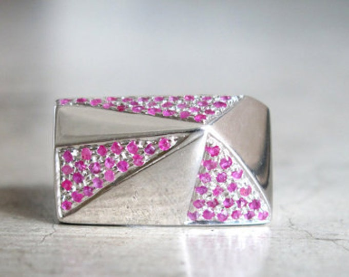 Pyramid Ruby Ring- Pink Ruby Ring- Genuine Ruby Ring- Architectural Ruby Ring