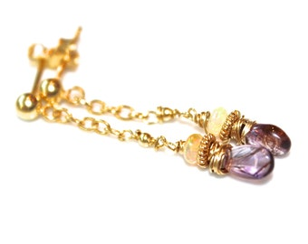 Moss Amethyst Earrings Delicate Earrings Wire Wrapped Earrings Gold Chain Earrings Ethiopian Opal Earrings Amethyst Jewelry FizzCandy