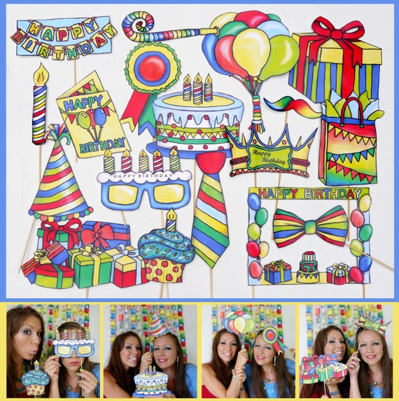 colorful birthday photo booth props - perfect accesory for your next birthday party for boys or girls in primary colors - UPDATED