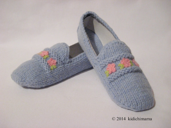 Knitting Pattern For Slippers That Look Like Sneakers : House slippers hand knit blue yarn with crochet by kidichimama