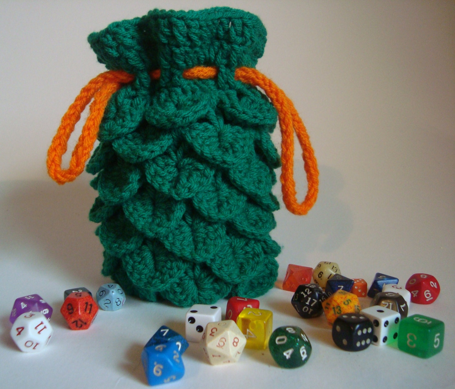 Dragon Dice Bag Crochet Pattern : Crochet Dragon Scale Dice Pouch/Bag with Drawstring Green