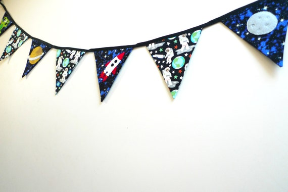 Space bunting space themed banner fabric bunting by for Space themed fabric