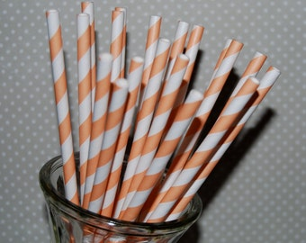 """25 extra long soda bottle orange and white stripe paper drinking straws - with FREE Blank Flags. See also - """"Personalized"""" flags option."""