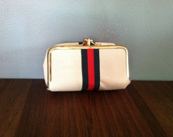Vintage White and Brass Coin Purse Sewing Kit Grosgrain Ribbon