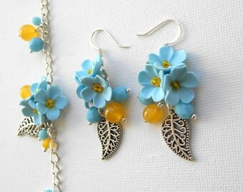 Pastel Jewelry, Spring Jewelry, Flower Jewelry, Light Blue Jewelry, Forget Me Not, Flower Earrings, Flower Bracelet, Gift For Her, Floral